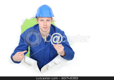 Builder promoting e-mail address stock photo, Builder promoting e-mail address by photography33