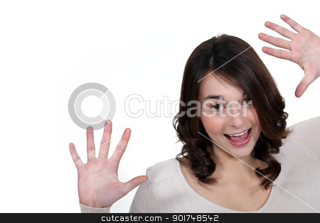 girl laughing and raising hands stock photo, girl laughing and raising hands by photography33