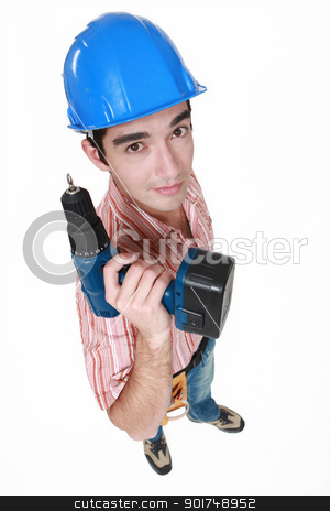 craftsman holding a drill stock photo, craftsman holding a drill by photography33