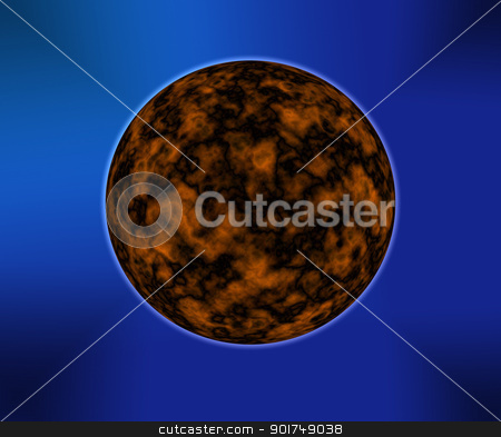 Unknown planet on a dark blue background stock photo, Unknown fiery planet on a dark blue background by Alexander Matvienko