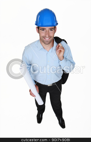 Smiling engineer holding a rolled-up drawing stock photo, Smiling engineer holding a rolled-up drawing by photography33