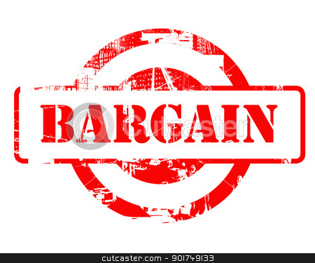 Bargain red stamp stock photo, Bargain red stamp with copy space isolated on white background. by Martin Crowdy