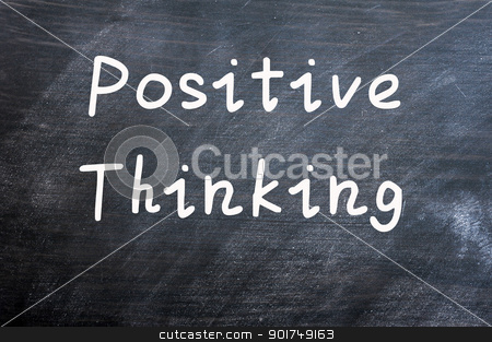 Positive thinking stock photo, Positive thinking written with white chalk on a smudged blackboard background by John Young