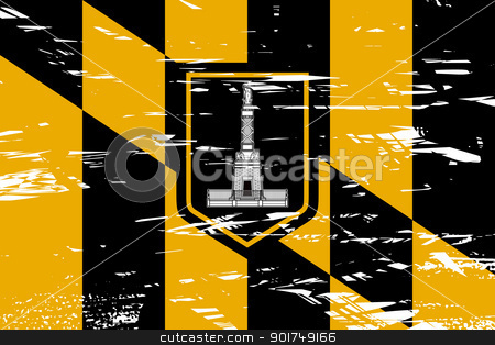 Baltimore city flag stock photo, City flag of Baltimore city in the U.S.A qith grunge effect.  by Martin Crowdy