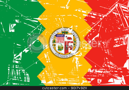 Los Anglese city flag stock photo, Flag of Los Anglese city in the U.S.A  by Martin Crowdy