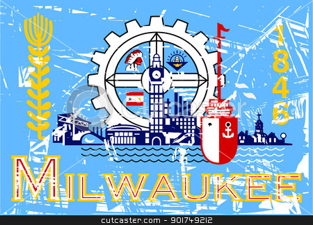 Milwaukee flag stock photo, Flag of Millwaukee city in the U.S.A  by Martin Crowdy