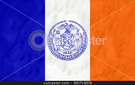 New York city flag stock photo, Flag of New York city in the U.S.A with grunge effect.  by Martin Crowdy