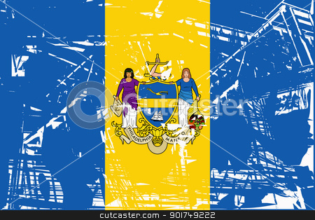 Philadelphia city flag stock photo, Flag of Philadelphia city in the U.S.A  by Martin Crowdy
