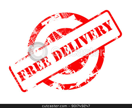 Free Delivery red stamp stock photo, Free Delivery red stamp with copy space isolated on white background. by Martin Crowdy