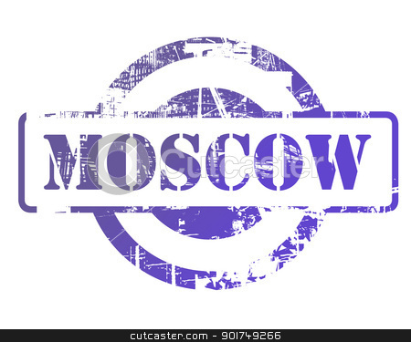 Moscow stamp stock photo, Moscow stamp with copy space isolated on white background. by Martin Crowdy
