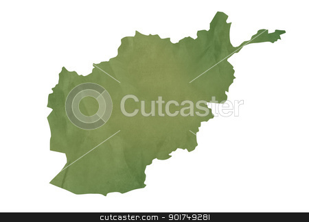 Old green map of Afghanistan stock photo, Old green map of Afghanistan in textured green paper, isolated on white background. by Martin Crowdy