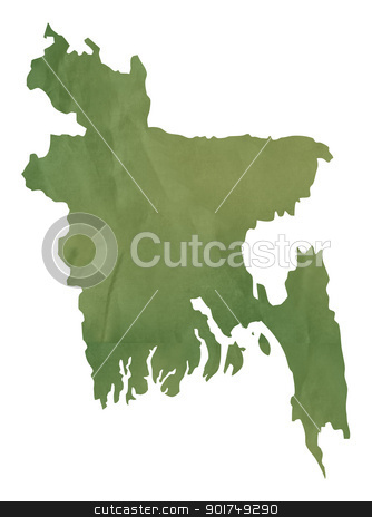 Old green map of Bangladesh stock photo, Old green map of Bangladesh in textured green paper, isolated on white background. by Martin Crowdy