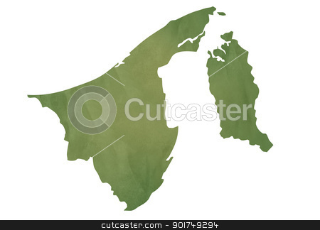 Old green map of Brunei stock photo, Old green map of Brunei in textured green paper, isolated on white background. by Martin Crowdy
