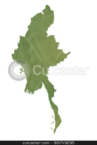Old green map of Burma stock photo, Old green map of Burma in textured green paper, isolated on white background. by Martin Crowdy