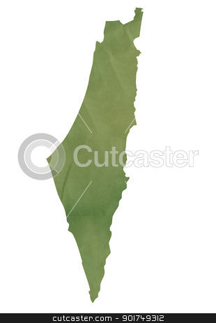 Old green map of Israel stock photo, Old green map of Israel in textured green paper, isolated on white background. by Martin Crowdy