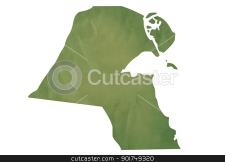 Old green map of Kuwait stock photo, Old green map of Kuwait in textured green paper, isolated on white background. by Martin Crowdy