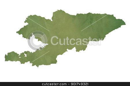 Old green map of Kyrgzstan stock photo, Old green map of Kyrgzstan in textured green paper, isolated on white background. by Martin Crowdy