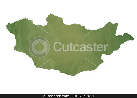 Old green map of Mongolia stock photo, Old green map of Mongolia in textured green paper, isolated on white background. by Martin Crowdy