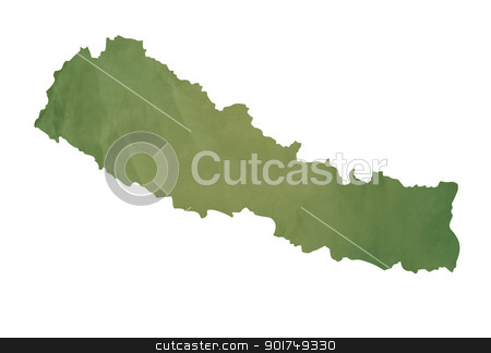 Old green map of Nepal stock photo, Old green map of Nepal in textured green paper, isolated on white background. by Martin Crowdy