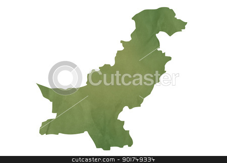 Old green map of Pakistan stock photo, Old green map of Pakistan in textured green paper, isolated on white background. by Martin Crowdy