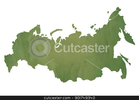 Old green map of Russian Federation stock photo, Old green map of Russian Federation in textured green paper, isolated on white background. by Martin Crowdy