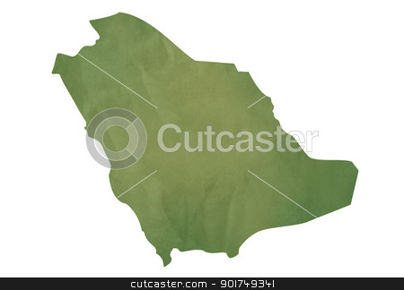 Old green map of Saudi Arabia stock photo, Old green map of Saudi Arabia in textured green paper, isolated on white background. by Martin Crowdy