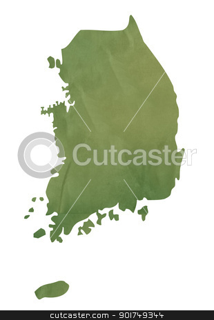 Old green map of South Korea stock photo, Old green map of South Korea in textured green paper, isolated on white background. by Martin Crowdy