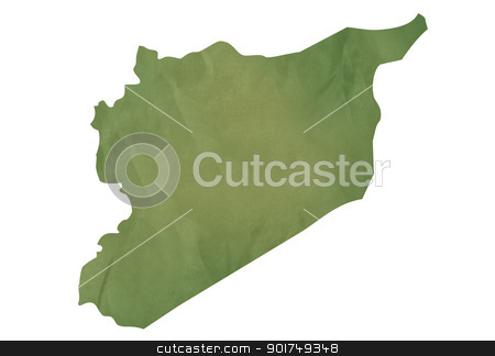 Old green map of Syria stock photo, Old green map of Syria in textured green paper, isolated on white background. by Martin Crowdy