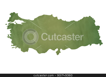 Old green map of Turkey stock photo, Old green map of Turkey in textured green paper, isolated on white background. by Martin Crowdy