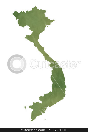 Old green map of Vietnam stock photo, Old green map ofVietnam in textured green paper, isolated on white background. by Martin Crowdy