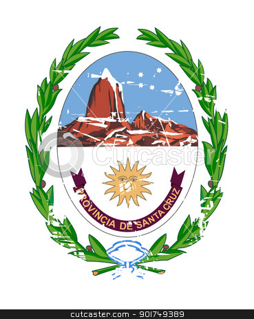 Santa Cruz coat of arms stock photo, Coat of arms of province of Santa Cruz in Argentina; isolated on white background. by Martin Crowdy