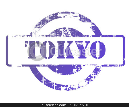 Tokyo stamp stock photo, Tokyo stamp with copy space isolated on white background. by Martin Crowdy