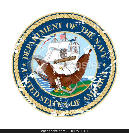 US Navy Seal stock photo, United States department of the Navy Seal; isolated on white background. by Martin Crowdy