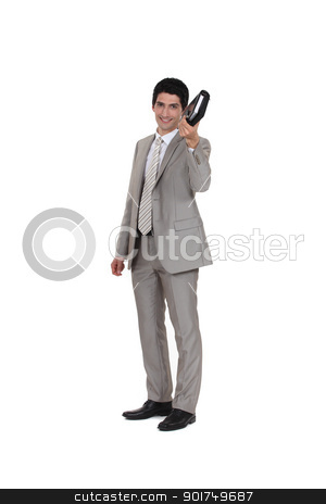 Businessman holding an agenda stock photo, Businessman holding an agenda by photography33