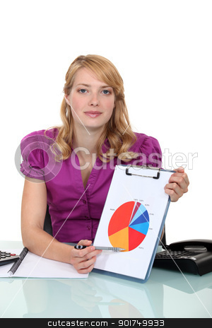 Woman pointing to pie-chart stock photo, Woman pointing to pie-chart by photography33