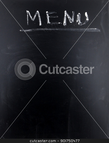 Blank blackboard menu stock photo, Blank blackboard menu. by Nenov Brothers Images