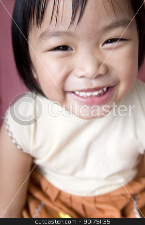Happy girl  stock photo, Happy 5 years old Asian girl   by szefei