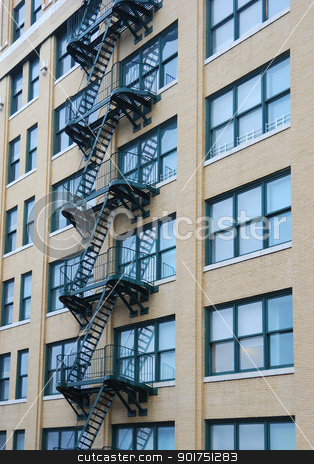 New York Building stock photo, View of stairs on a New York Building by Claude Gariepy