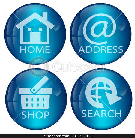 Glossy blue web button set stock vector clipart, Glossy blue web button set for use in web design, page layout by Vladimir Repka
