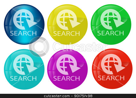 Search web button colored set stock vector clipart, Vector illustration of a set of the search buton kit for multipurpose use in design and creative efforts by Vladimir Repka