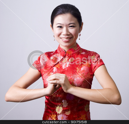happy chinese new year  stock photo, Oriental girl wishing you a happy chinese new year  by szefei