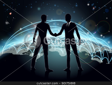 International business concept stock vector clipart, Silhouettes of businessmen shaking hands in front of world map with network or international trade lines  by Christos Georghiou