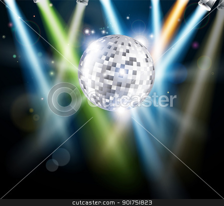 Disco mirror ball background stock vector clipart, Illustration of a disco mirror ball or glitter ball with disco lights   by Christos Georghiou