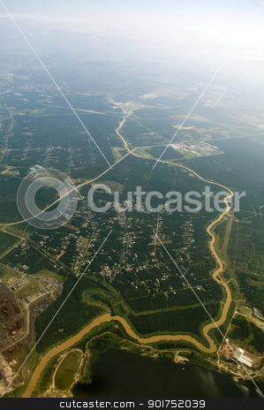Aerial View. stock photo, Aerial view over a rural area at Malaysia. by szefei