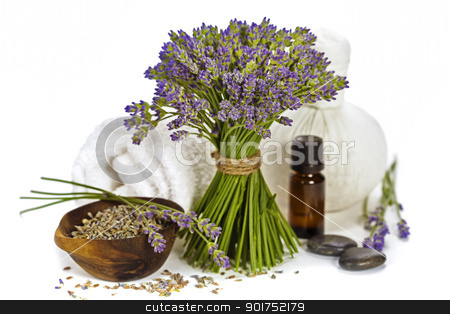 lavender spa stock photo, lavender spa (fresh lavender flowers, towel, essential oil, pebbles, Herbal massage balls) over white by klenova