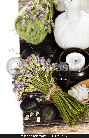 Lavender spa stock photo, lavender spa (fresh lavender flowers, towel, essential oil, pebbles, Herbal massage balls) on a wooden board by klenova