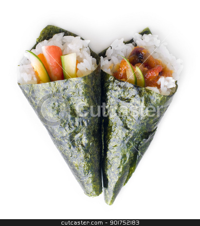 Hand rolled temaki sushi. stock photo, Hand rolled temaki sushi traditional japanese cuisine isolated on white. by szefei