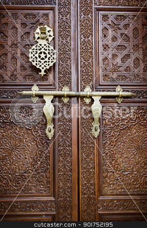 Islamic style door stock photo, Islamic carved door with beautiful details background. by szefei