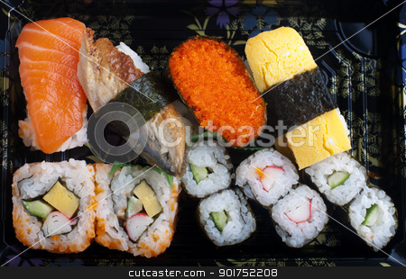Sushi set. stock photo, Sushi set traditional japanese cuisine on plate. by szefei