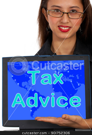 Tax Advice Computer Message Shows Taxation Help Online stock photo, Tax Advice Computer Message Showing Taxation Help Online by stuartmiles